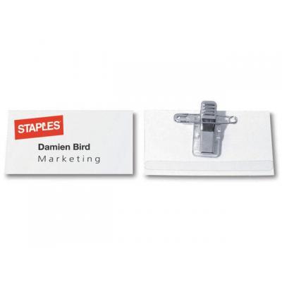 Staples naambadge: Naambadge SPLS 40x75mm met clip/ds 50