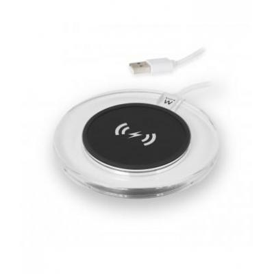 Ewent oplader: Universal Wireless Charging Pad, 5V, 1A - Zwart, Transparant, Wit