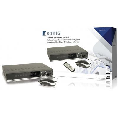 König digitale video recorder: H.264, BNC/VGA/HDMI, LAN, 1TB HDD - Zwart