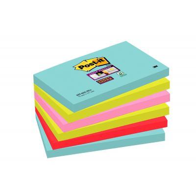 Post-it zelfklevend notitiepapier: 655-6SS-MIA - Aqua colour, Limoen, Roze, Rood