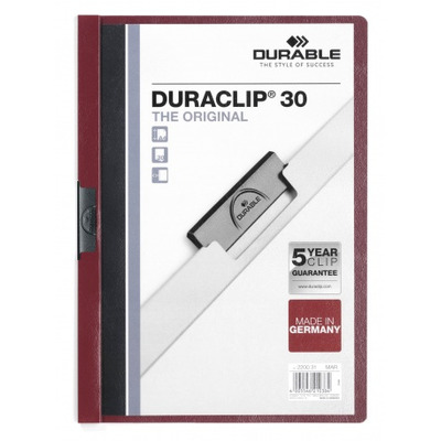 Durable Duraclip 30 Stofklepmap - Bordeaux rood, Transparant