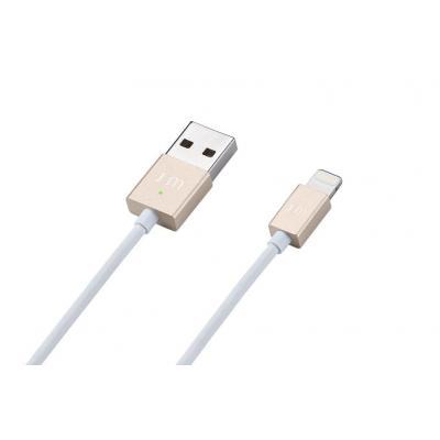 JustMobile USB kabel: AluCable voor iPhone, iPad en iPod Touch (goud) - Goud, Wit