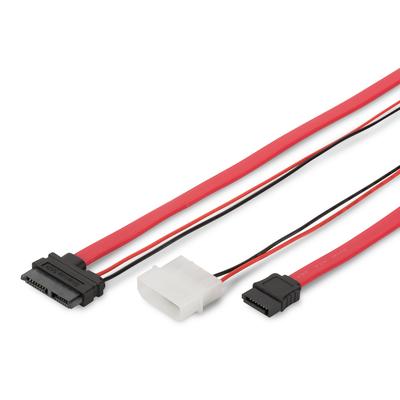 Digitus SATA connection cable, SATA13pin - L-type power F/F, 0.5m, straight, Slimline, SATA II/III, re ATA kabel .....