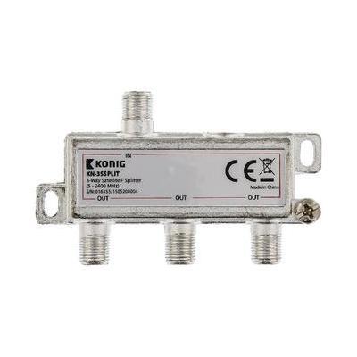 König kabel splitter of combiner: 3-wegs F-splitter satelliet 5 - 2400 MHz - Zilver