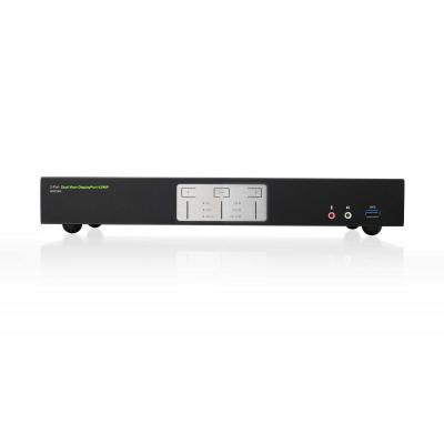 Iogear GCS1942, DisplayPort, USB A, 3.5mm, USB 3.0 B, RJ-45, DC 12V, 53.9x155.6x335 mm KVM switch - Zwart, Grijs