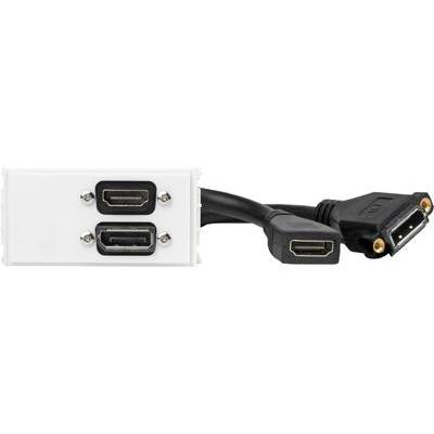 Vivolink wandcontactdoos: Outlet Panel Displayport + HDMI, White - Wit