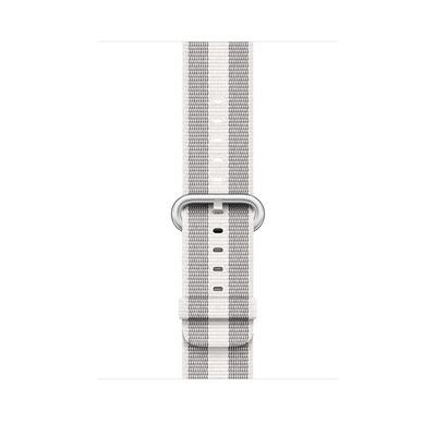 Apple : Bandje van geweven nylon - Wit (gestreept, 42 mm)