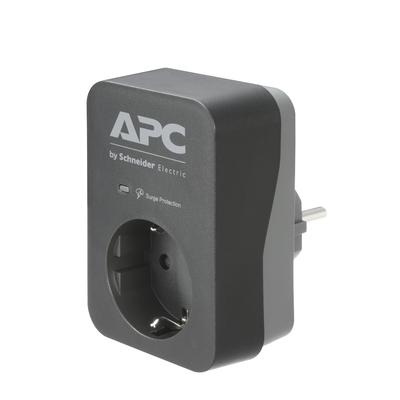 APC PME1WB-GR tussenstekker met overspanningsbeveiliging 3680W 1x stopcontact Surge protector - Zwart, Grijs