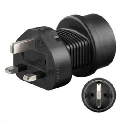 Microconnect stekker-adapter: Universal adapter UK to Schuko - Zwart