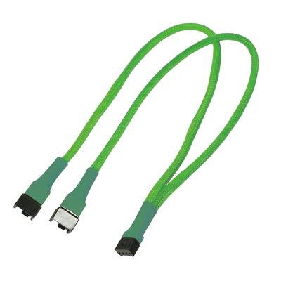 Nanoxia 2 x 4-Pin PWM (male), 1 x 4-Pin PWM (female), 0.3 m, neon green - Groen