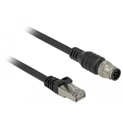 DeLOCK RJ45 plug to M12 plug 8 pin A-coded Cat.5e SFTP 1 m Netwerkkabel - Zwart