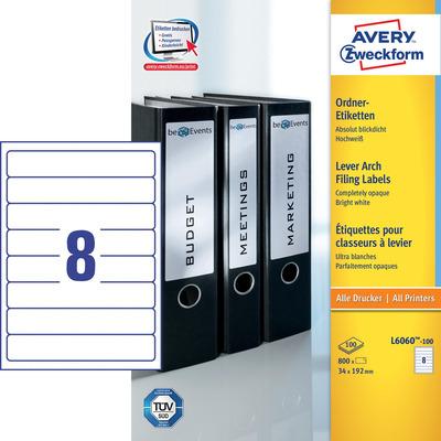 Avery 192 x 34 mm, A4, 800 pcs, wit Etiket