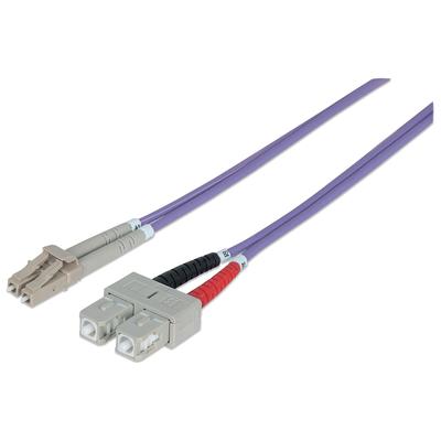 Intellinet Fibre Optic Patch Cable, Duplex, Multimode, LC/SC, 50/125 µm, OM4, 2m, LSZH, Violet Fiber optic .....