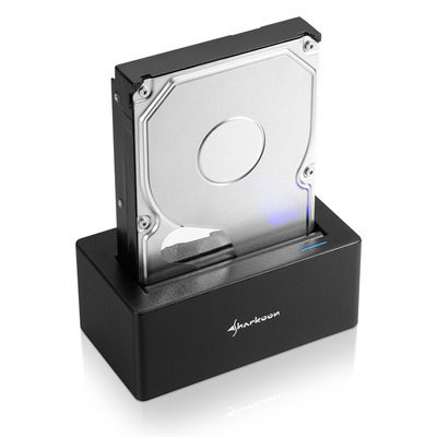 Sharkoon HDD/SSD docking station: SATA QuickPort USB 3.1 Type C - Zwart