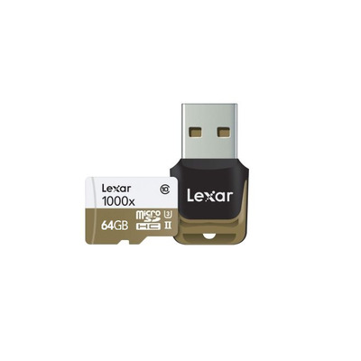 Lexar flashgeheugen: 64GB microSDHC UHS-II - Zwart, Bruin