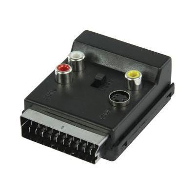 Valueline kabel adapter: AV-adapter SCART mannelijk - SCART vrouwelijk + 3x RCA vrouwelijk + S-Video vrouwelijk - Zwart