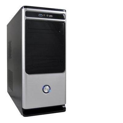 LC-Power Midi-Tower, ATX, Micro-ATX, Mini-ITX, USB 3.0/USB 2.0, metal Behuizing - Zwart, Zilver