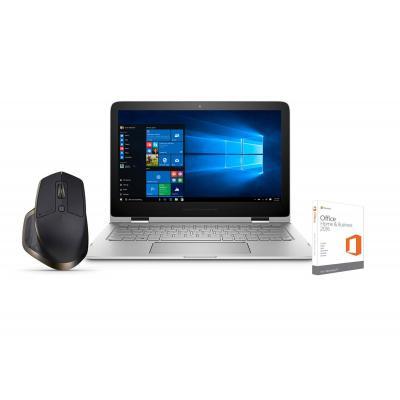 Hp laptop: Spectre Pro x360 G2 - Intel Core i5 - 256GB SSD Office Home & Business bundel + GRATIS Logitech muis - Zilver