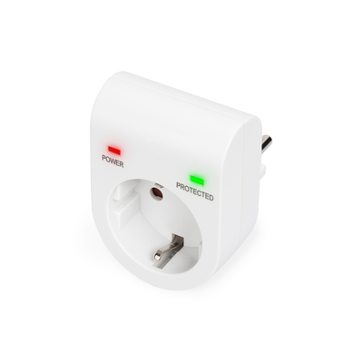 Digitus with power and protected LED safety outlet,16 A, 3.500W, TÜV-GS, CE-LVD, white Surge protector