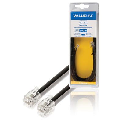 Valueline telefoon kabel: Telecomkabel RJ11 mannelijk - RJ11 mannelijk 5.00 m zwart