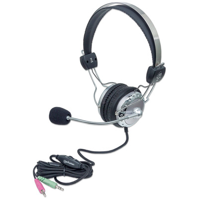 Manhattan Stereo, Easily adjustable with flexible microphone boom, Comfortable padded ear cushions, two 3.5mm .....