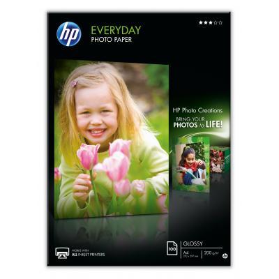 HP fotopapier: Everyday glanzend fotopapier, 100 vel, A4/210 x 297 mm - Zwart, Blauw, Wit