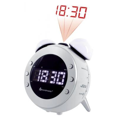 Soundmaster radio: AM/FM Clock Radio Black with projection and dimming night- and wake-up light
