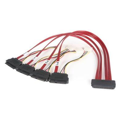 Startech.com SCSI kabel: 50cm Serial Attached SCSI SAS Cable – SFF-8484 to 4x SFF-8482 with LP4 Power - Rood