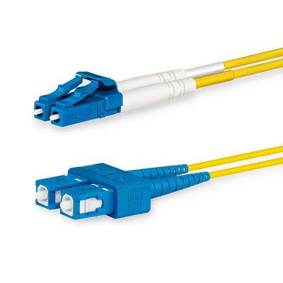 Lanview 2 x LC - 2 x SC Singlemode fibre cable, OS2, 9 / 125 µm, LSZH, Yellow, 1 m Fiber optic kabel - Geel