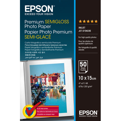 Epson Premium Semi-Gloss Photo Paper - 10x15cm - 50 Vellen Fotopapier - Wit