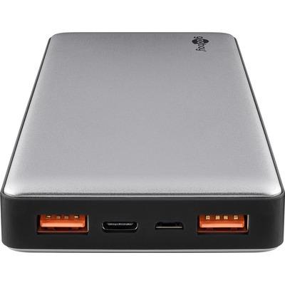 Goobay 14800 mAh, 74 Wh, 3.7 V, 20000 mAh, 0.3 m, 5 V, 430 g, USB 2.0 Powerbank - Zwart,Grijs