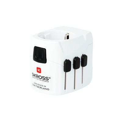 Skross PRO Light USB Stekker-adapter - Zwart, Wit