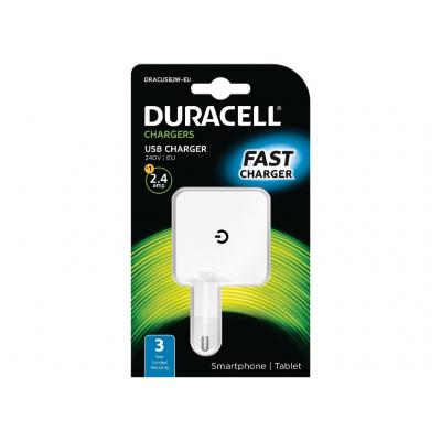 Duracell 2.4A USB Phone/Tablet Charger Oplader - Wit