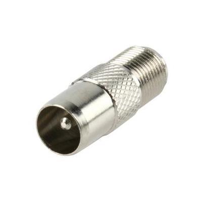 Valueline kabel adapter: F (F) - Coax (M), Metal - Zilver