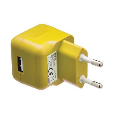 Valueline USB AC charger USB A female - AC home connector yellow Oplader - Geel