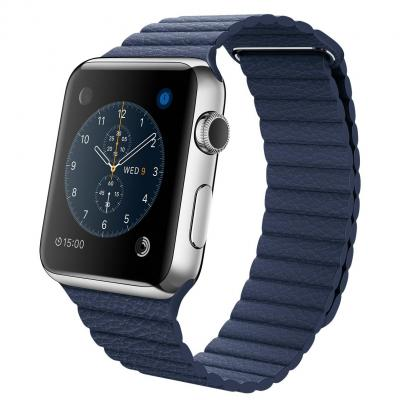 Apple smartwatch: 42-mm kast van roestvrij staal, middernachtblauw leren bandje, L