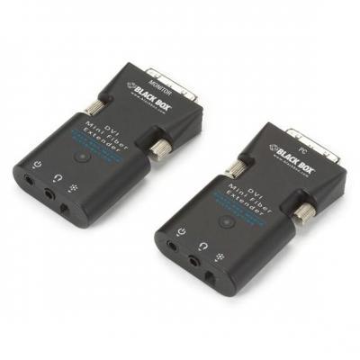 Black box AV extender: Mini Extender Kit for DVI-D and Stereo Audio over Fiber, max. 1.5 km, 1920 x 1200/60 Hz, Black - .....