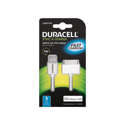 Duracell Sync/Charge Cable 1 Metre White Oplader - Wit