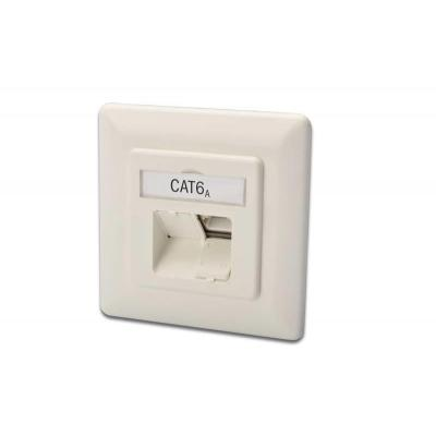 Digitus wandcontactdoos: CAT 6a, network outlet, shielded, 2x RJ45, LSA, white, flush mount, horizontal cable entry - .....