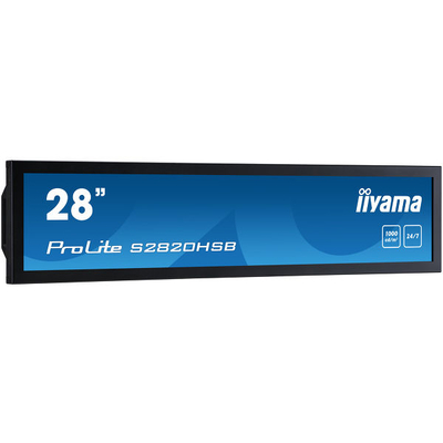 "Iiyama 28"", 1920 x 360, 1000cd/m², 1000:1, 8ms, 24/7 Public display - Zwart"