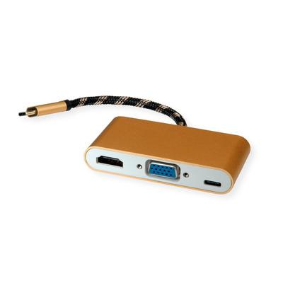 ROLINE Type C - VGA, HDMI, Type C PD, 0.1 m, Black/Gold/White Hub - Zwart,Goud,Wit