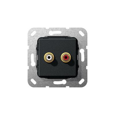 GIRA Basiselement cinch audio Koppeling, zwart mat Wandcontactdoos
