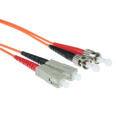 ACT 0,5 meter LSZH Multimode 62.5/125 OM1 glasvezel patchkabel duplex met ST en SC connectoren Fiber optic kabel