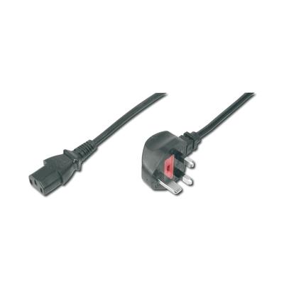Digitus Power Cord, UK plug, 90ø angled - C13 M/F, 1.8m, H05VV-F3G 0.75qmm, fuse 5A, black Electriciteitssnoer .....