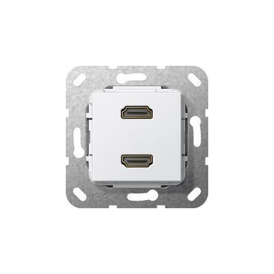 """GIRA Basiselement HDMI """"High Speed with Ethernet"""" tweevoudig Verloopkabel, zuiver wit glanzend Wandcontactdoos"""