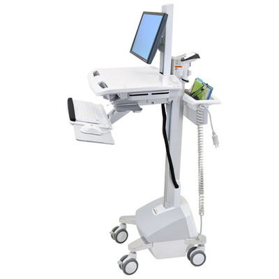 Ergotron StyleView EMR Cart with LCD Pivot, LiFe Powered, EU Multimedia kar & stand - Aluminium, Grijs, Wit