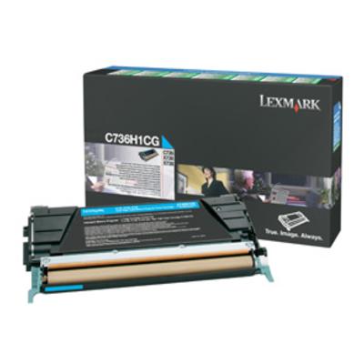 Lexmark C736, X736, X738 10K cyaan retourpr.cartr. Toner