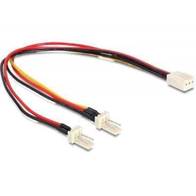 Delock electriciteitssnoer: Cable Molex 3 pin female > 2 x Molex 3 pin male (fan) 22 cm - Multi kleuren