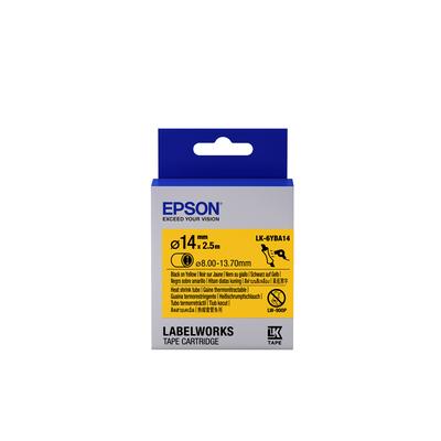 Epson Label Cartridge Heat Shrink Tube (HST) LK-6YBA14, zwart/geel D14 mm (2,5 m) Labelprinter tape