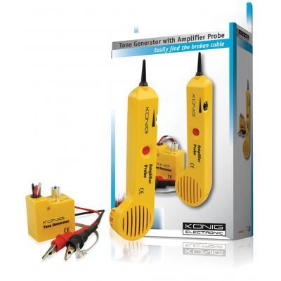 König netwerkkabel tester: Tone generator with amplifier probe - Geel